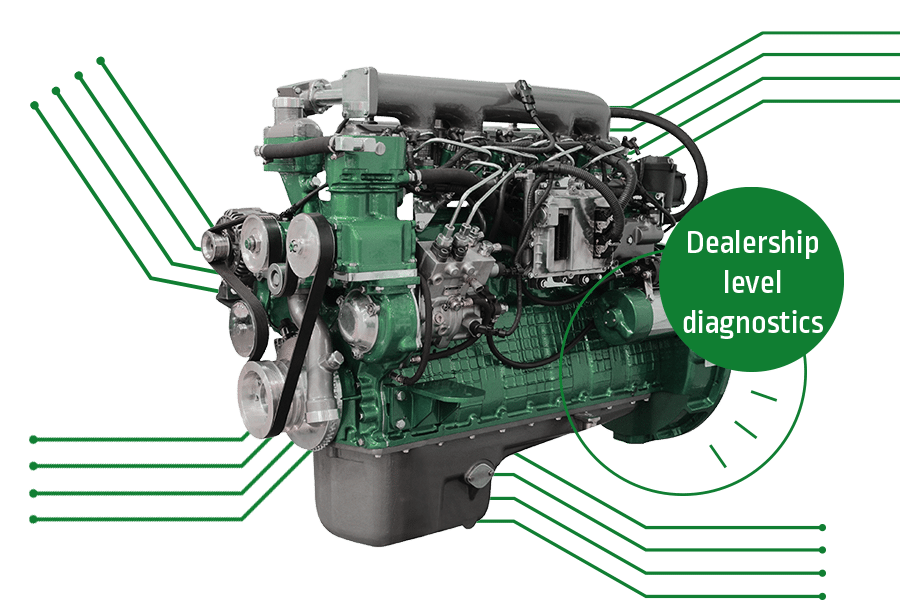 Car engine surrounded by diagnostic components