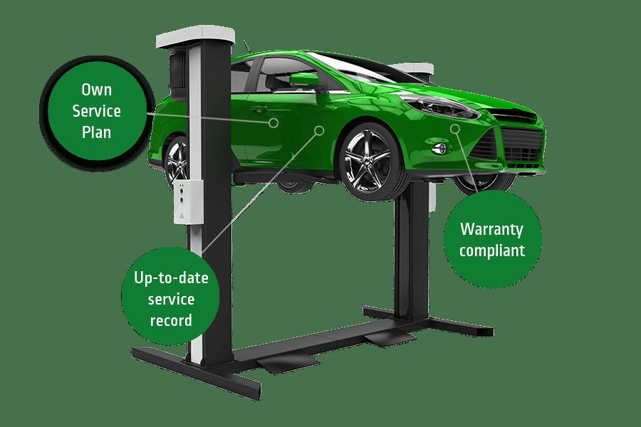 Car servicing in progress on mechanic ramp